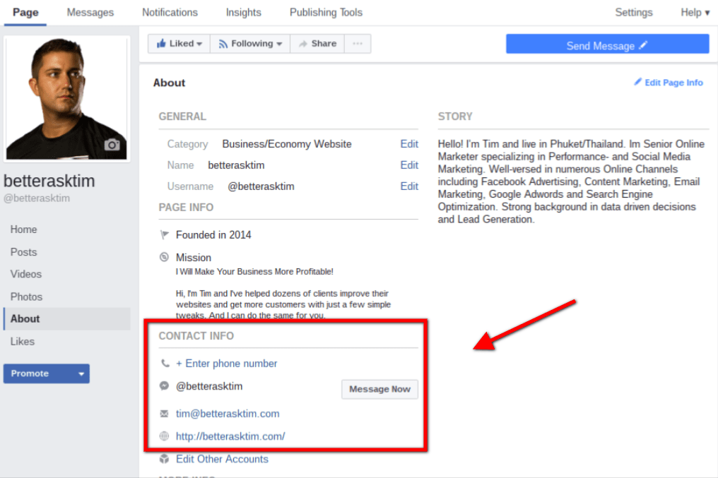 Optimize Facebook Contact Info