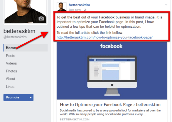 Optimizing Facebook Posts